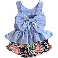 jarsh bebés, niñas, sin mangas sin espalda Bowknot Vestido Tops + Floral impresión pantalones cortos ropa Set