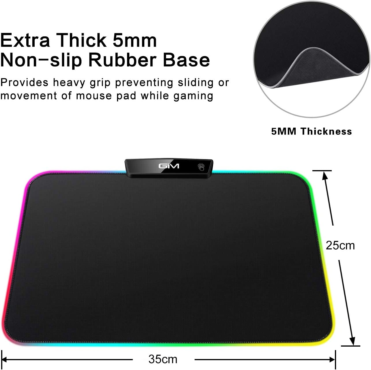 RGB LED Gaming Mouse Pad,GIM LED Mouse Pad Mad with 15 Lighting Modes Non-Slip Rubber Base USB Computer Mousepad for Gamer,Office and Home 13.8 x 9.8 x 0.2 Inch