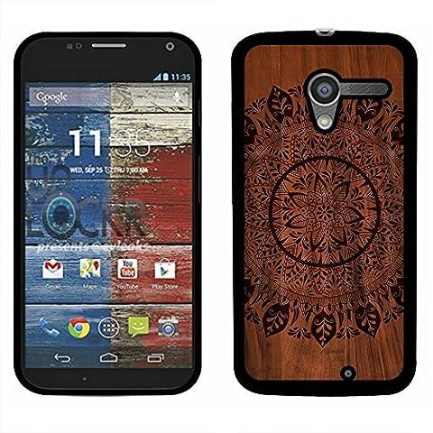 Motorola Moto X Phone XT1058 1st Gen 2013 Case, Fincibo (TM) Back Cover Slim Fit Hard Plastic Protector, Full Black Leaf Mandala On (Moto X 1st Gen Phone Covers)