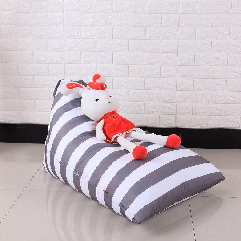 Malbaba Kids Stuffed Animal Plush Toy Storage Bean Bag Soft Pouch Stripe Fabric Chair, Fast Delivery Gray