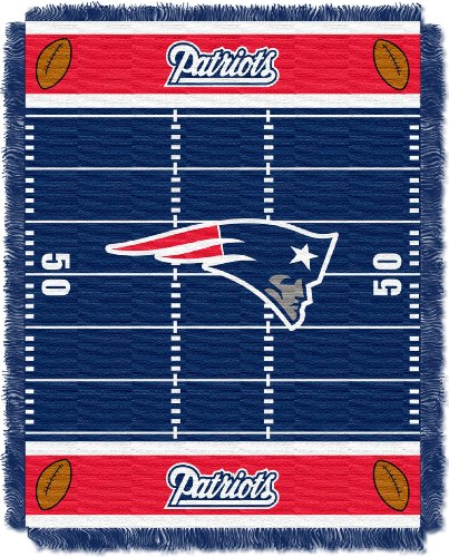 Patriots Tapestry England New (The Northwest Company Officially Licensed NFL New England Patriots Field Bear Woven Jacquard Baby Throw Blanket, 36