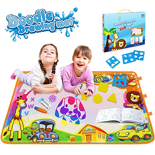 Kids Aqua Magic Doodle Mat Toys, Sinmeey Learning Painting Pad Writing Board Water Drawing Tablet 34.5 X 22.5in Educational Gifts for Baby Boys Girls Toddlers