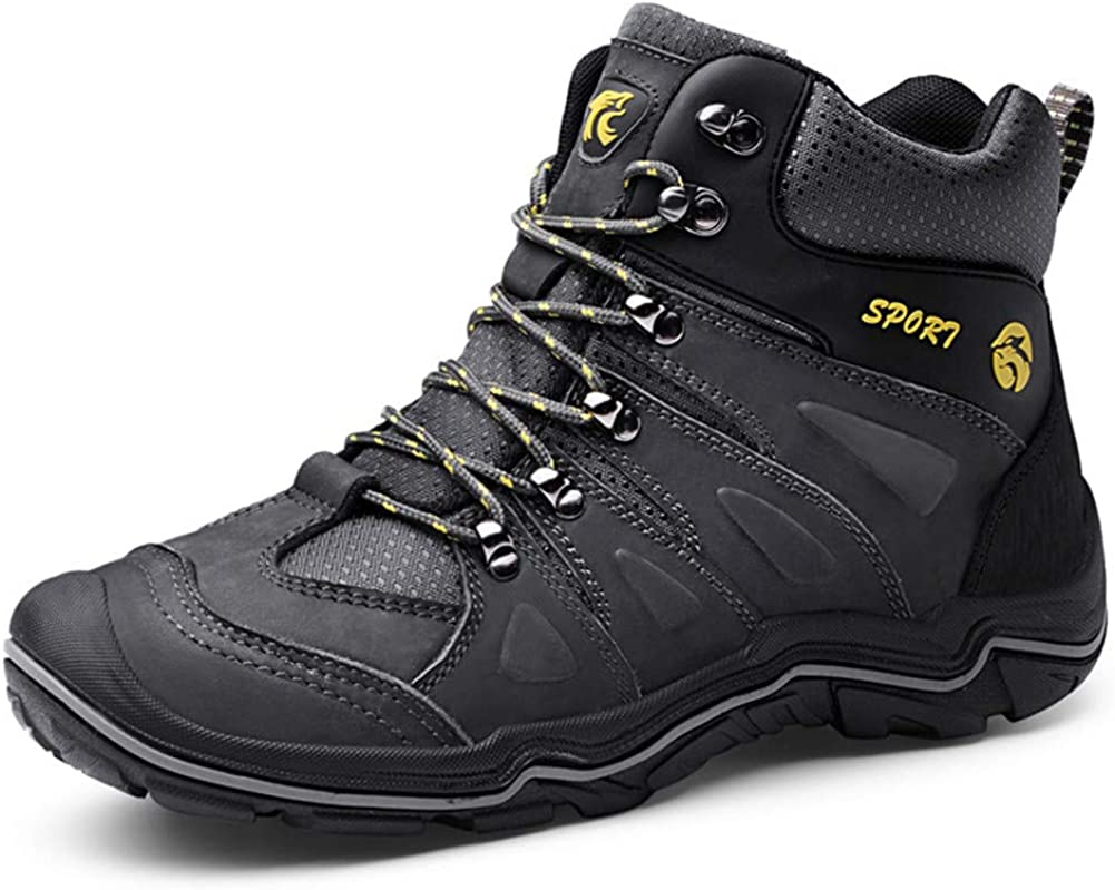 ailishbroy Men s Mid Trekking Hiking Boots Waterproof Outdoor Breathable Hike High Top Shoes Sneakers Oxfords