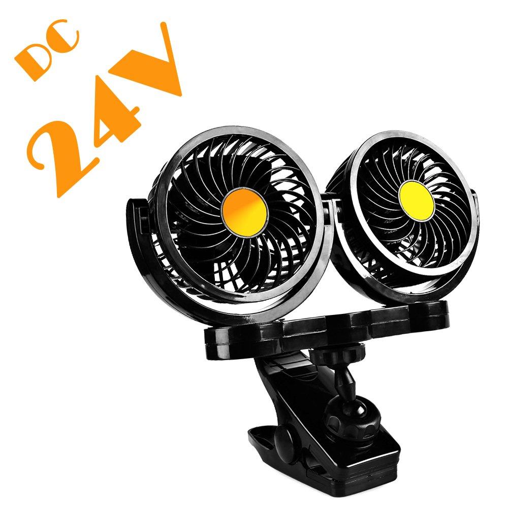 Afterpartz HX-02-24V, ventilatore elettrico per auto da 24 V, due testine, con clip ventilatore elettrico per auto da 24V