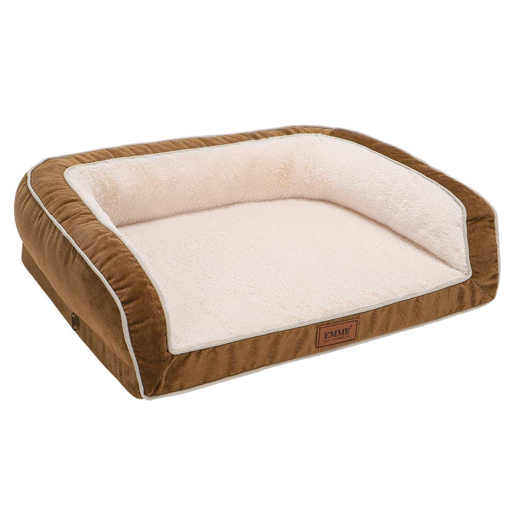 EMME Pet Bed Sofa-Style Orthopedic Dog Beds Removable Cover Ultra Plush Deluxe Couch for Large Dogs (Brown, Large) by EMME