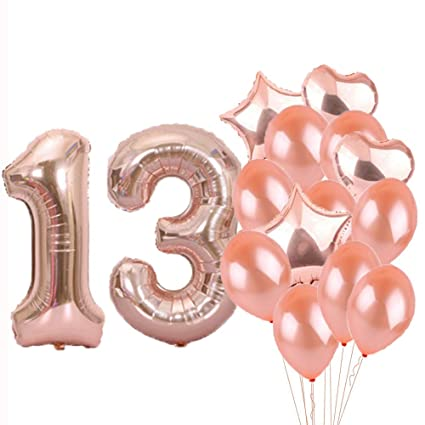 Sweet 13th Birthday Decorations Party SuppliesRose Gold Number 13 Balloons Foil Mylar