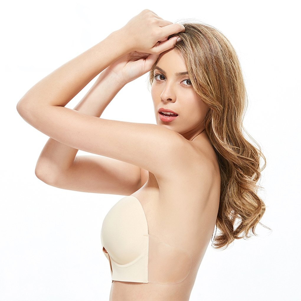 e202af0e2ff Gempack Push up Adhesive Silicone Bra Deep U-Shaped Reusable Strapless  Backless Invisible Bra for Women (Beige