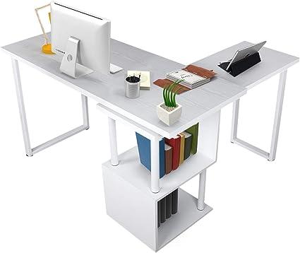 bureau moderne pivotant en forme de l 139 7 cm grand bureau pivotant a 360 degres plateau nid d abeille placage grain de bois bureau avec etageres de