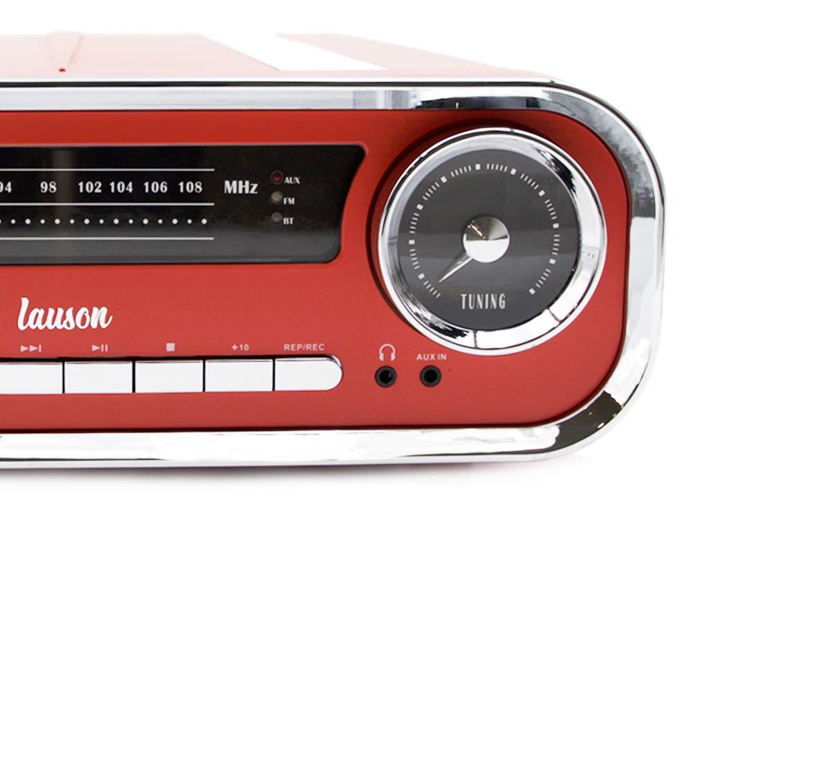 Lauson 01TT17 Tocadiscos Diseño Vintage Coche de Colección con 2 Altavoces Estéreo Integrado de 3 W | Tocadisco Vinilo con Radio FM, Función ...