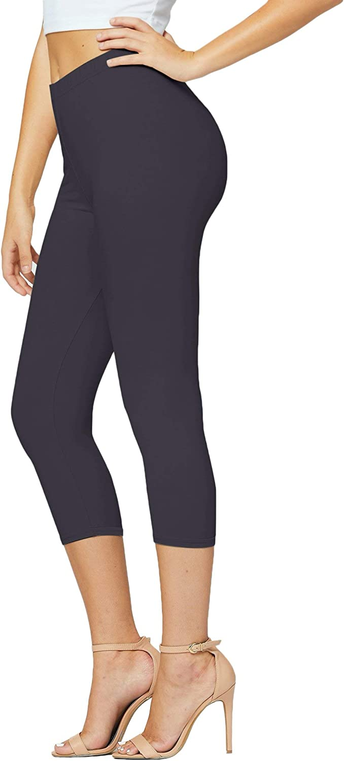Premium Ultra Soft Womens High Waisted Capri Leggings in Solids and Prints - Cropped Length - Solid Charcoal Grey - One Size