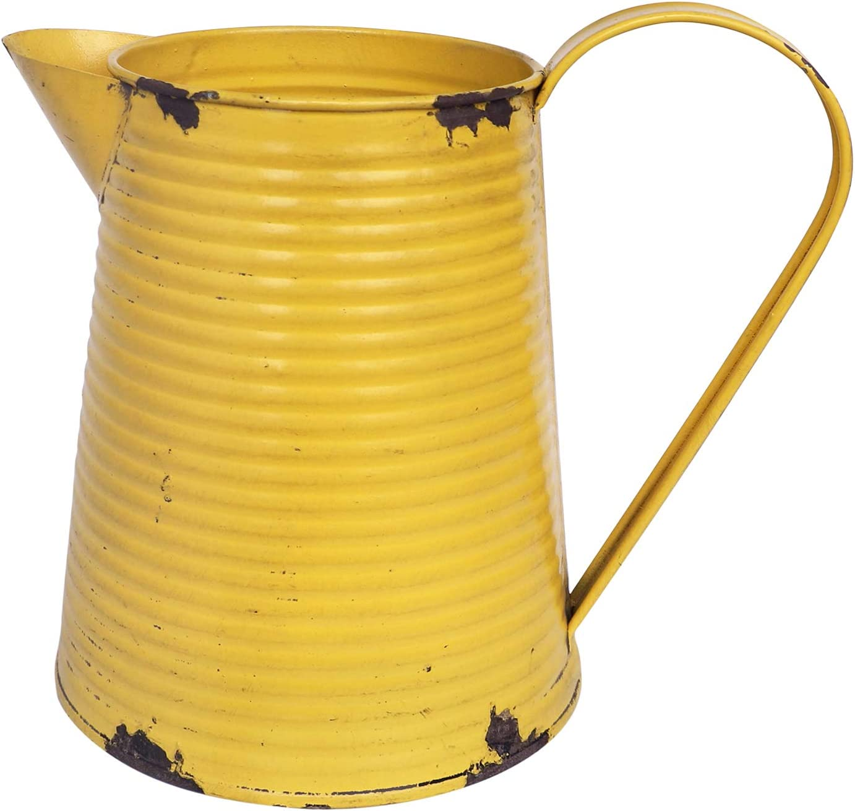 Yoillione Farmhouse Vase Vintage Flower vase, French Country Vases Decorative Cream Can Decor, Small Yellow Jug Vase Galvanized Metal Vase Rustic Flower Areangements, Farmhouse Decor Pitcher Vase