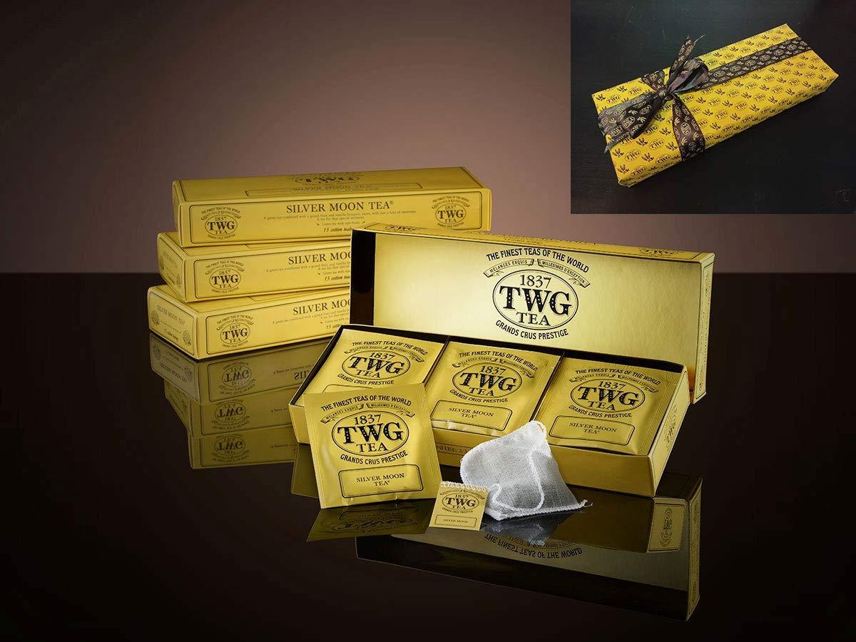 TWG SILVER MOON TEA - 15 Cotton Tea Bags (Exclusive GREEN Tea Bags)