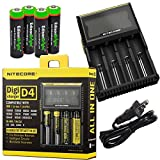 Nitecore D4 smart battery Charger with LCD display For Li-ion, IMR, LiFePO4 26650 22650 18650 17670 18490 17500 18350 16340 RCR123 14500 10440 Ni-MH And Ni-Cd AA AAA AAAA C Rechargeable Batteries with 4 x EdisonBright Ni-MH rechargeable AA batteries bundl