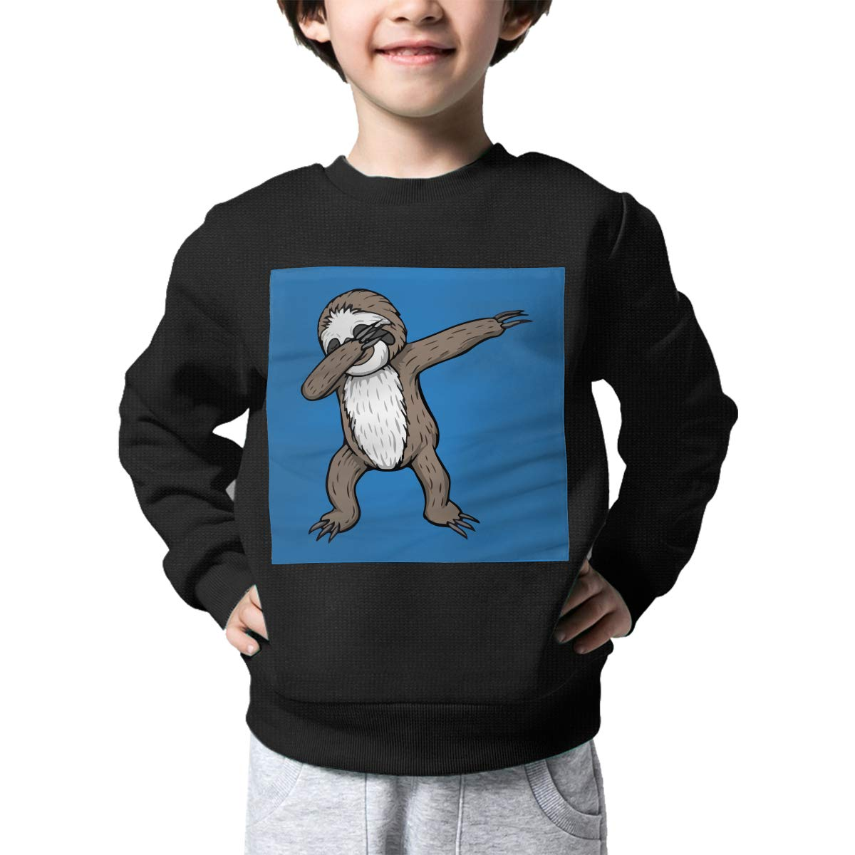 Sloth Dabbing Baby Girls Childrens Print Crew Neck Sweater Long Sleeve Warm Knit Sweatshirt