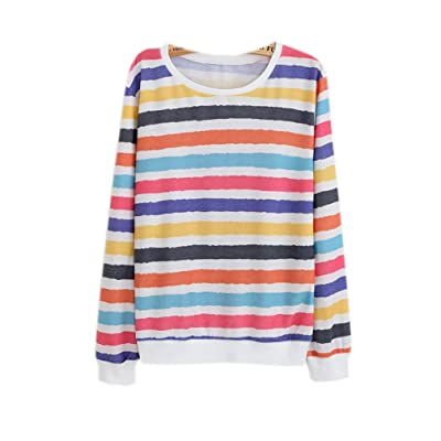 2017 Cute Striped Rainbow Crew Neck Pullover Sweatshirts (Size M)