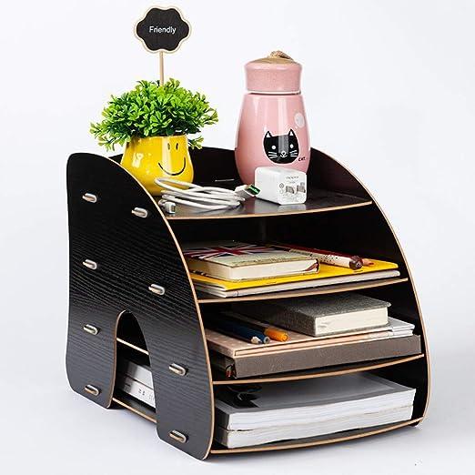 Organizador de escritorio, A4, de madera, curva, organizador de ...