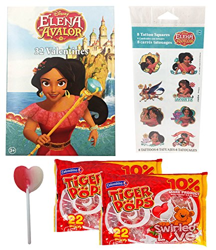 - Elena Of Avalor 32 Valentine Cards With 8 Tattoos and 44 Heart Swirl Lollipops Classroom Exchange Bundle