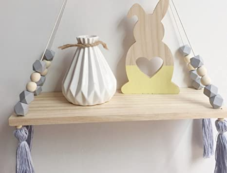 Kingso Dekorative Wand Regal Hängend Mit Seil Fixierung Holz