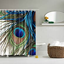 GWELL Waterproof Peacock Feathers Shower Curtain Polyester Fabric Anti-Bacterial Bathroom Curtain with 12 Hooks (70.86X78.74-Inch, #11)