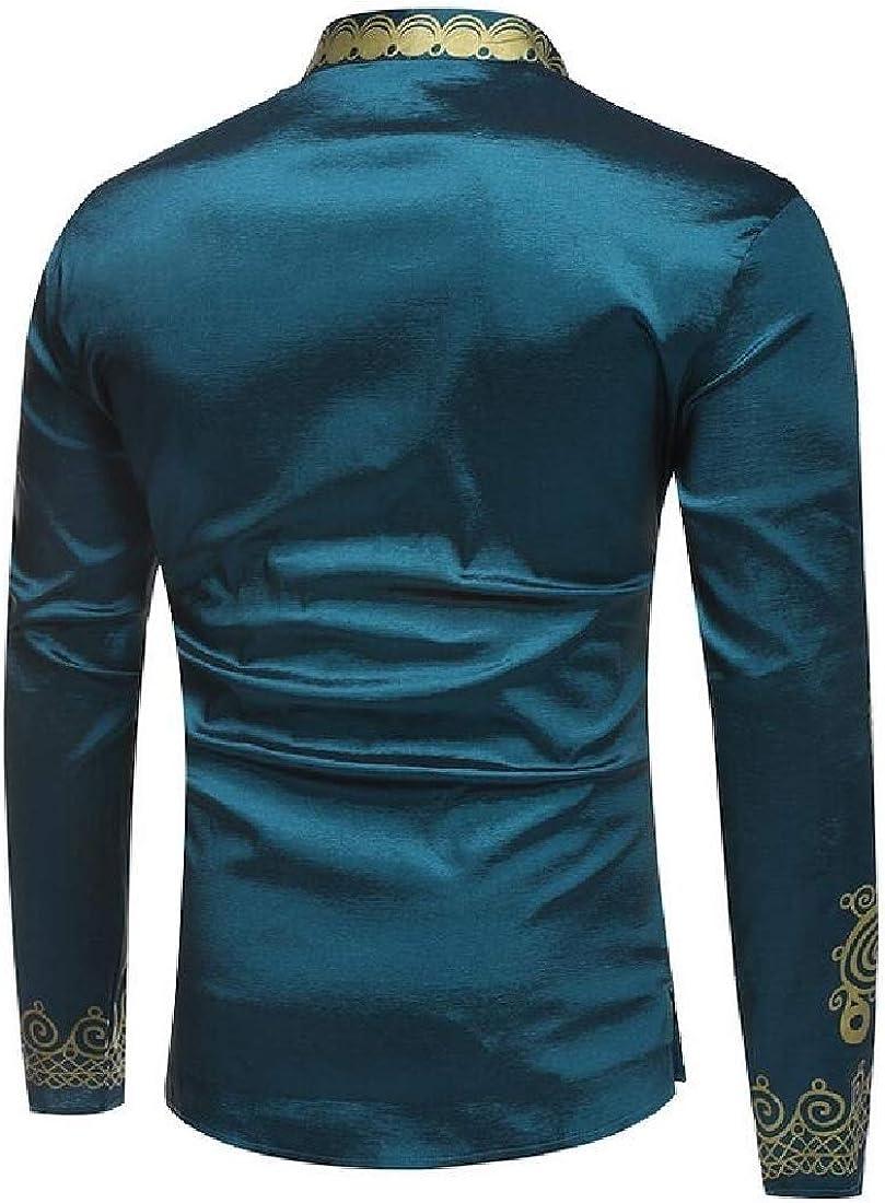 Miracle Mens African Dashiki Luxury Metallic Floral Plus Size Mid Long Shirt