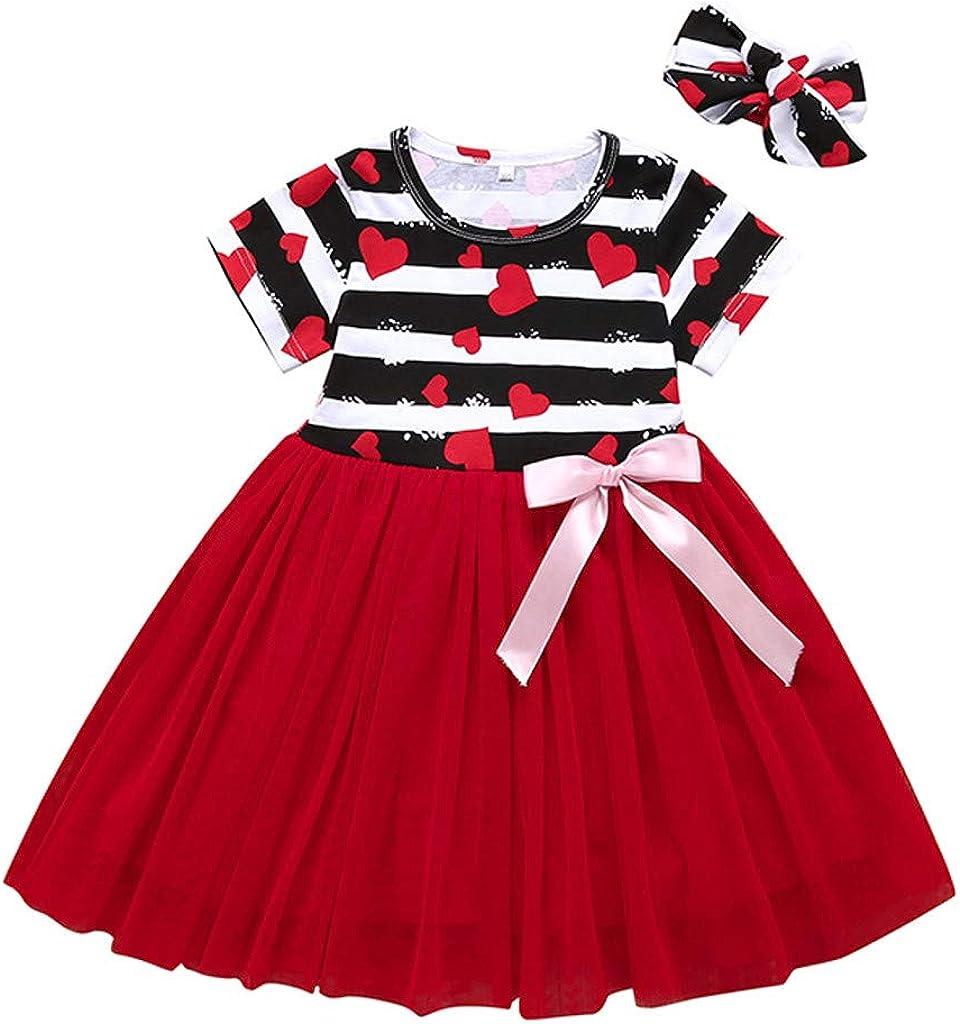 Toddler Kid baby girl Valentine/'s Day Rayures Coeur Imprimé Princesse Robe Tops