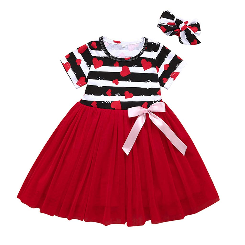 Dinglong 0-4Years Baby Girl Dress,Toddler Kid Baby Girl Heart Striped Printed Patchwork Princess Dress Clothes Skirt (80(6-12 Months))