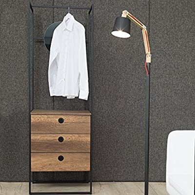 """Adam and Illy VIR1821 Virtus Hall Tree with Mirror, Baroque/Black - VIRTUS Hall Tree's industrial looking black steel frame paired with baroque oak wood colors is transitioning from retro modern to a rustic luxury. Made in Europe This unusual design serves as a full wardrobe with a self standing rod to hang your coats, a 18"""" mirror and three drawers to organize your needs in the entryway. - hall-trees, entryway-furniture-decor, entryway-laundry-room - 61NeKT3MODL. SS400  -"""