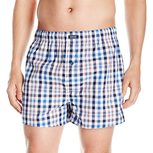 Izod Men's Standard Woven Boxer, Federal Blue-Plaid, Large
