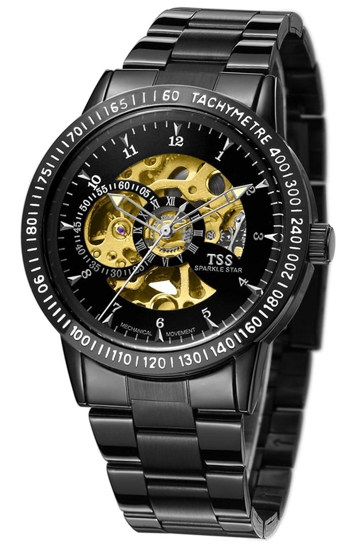 TSS Herren 's Schwarz Zifferblatt Silber Hand schwarz Band Skelett View Automatische Armbanduhr