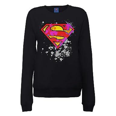 DC Comics Official Superman Splatter Logo Womens Sweatshirt, Sudadera para Mujer: Amazon.es: Ropa y accesorios