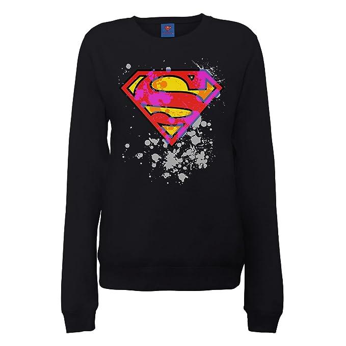 DC Universe DC Comics Official Superman Splatter Logo Womens Sweatshirt - Sudadera para mujer, Negro