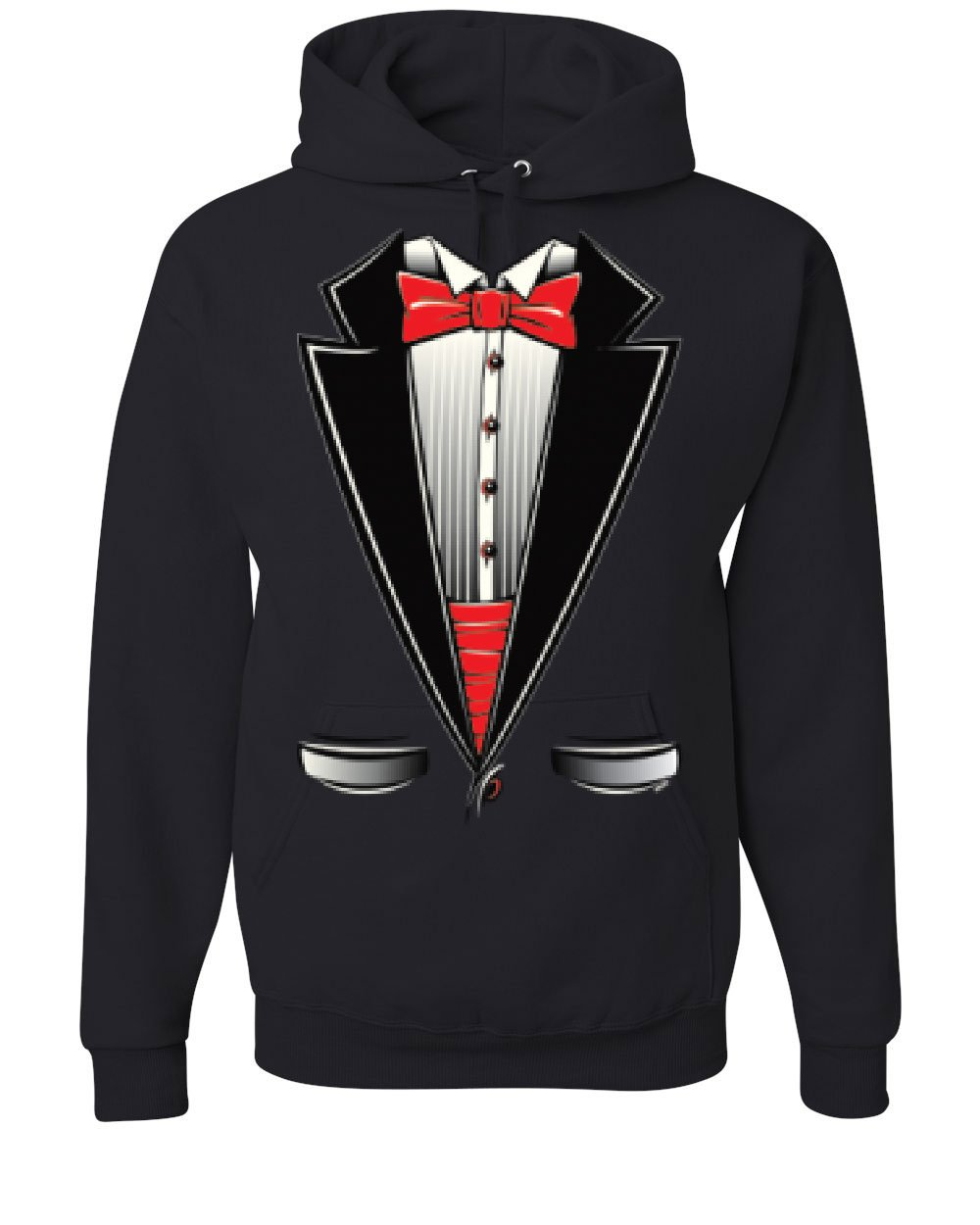 Funny Tuxedo Bow Tie Hoodie Tux Wedding Party Sweatshirt Black 4XL