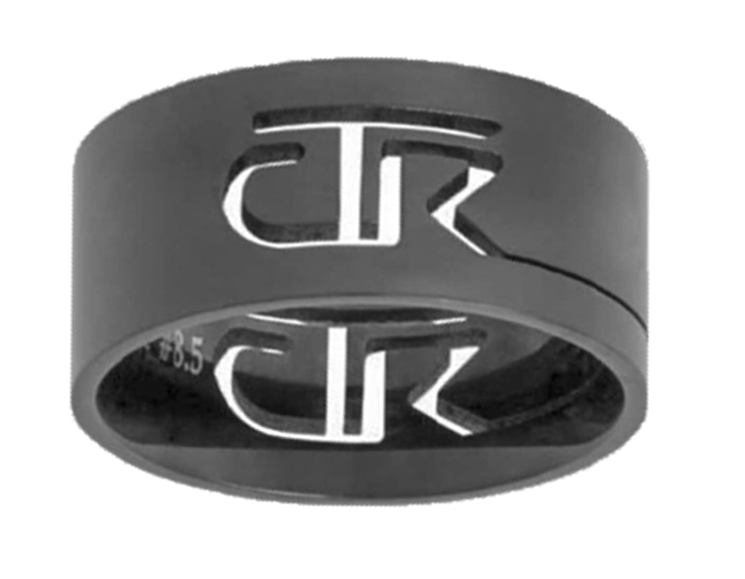 """""""Black Cutout"""" - Stainless Steel CTR Ring - J69B - One Moment In Time"""