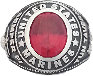 product image for Solid 14K White Gold Marine Corps Ring with Tun Tavern and Synthetic Ruby