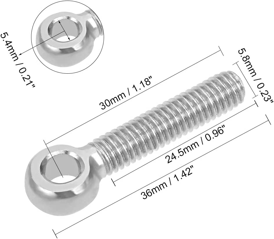 uxcell M6 x 30mm 304 Stainless Steel Machine Shoulder Lift Eye Bolt Rigging 10pcs Silver