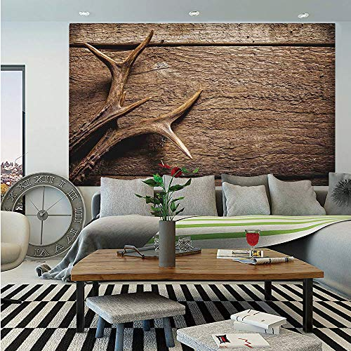Antlers Decor Removable Wall Mural,Deer Antlers on Wood Table Rustic Texture Surface Hunting Season Decorating,Self-Adhesive Large Wallpaper for Home Decor 66x96 - Birch Antler Faux