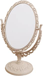 XPXKJ TabletopSwivel Vanity Makeup Mirror with 3X Magnification, Two SidedABS Decorative Framed European StyleMakeupMirror for Bathroom Bedroom Dressing Table- Oval(Mini)