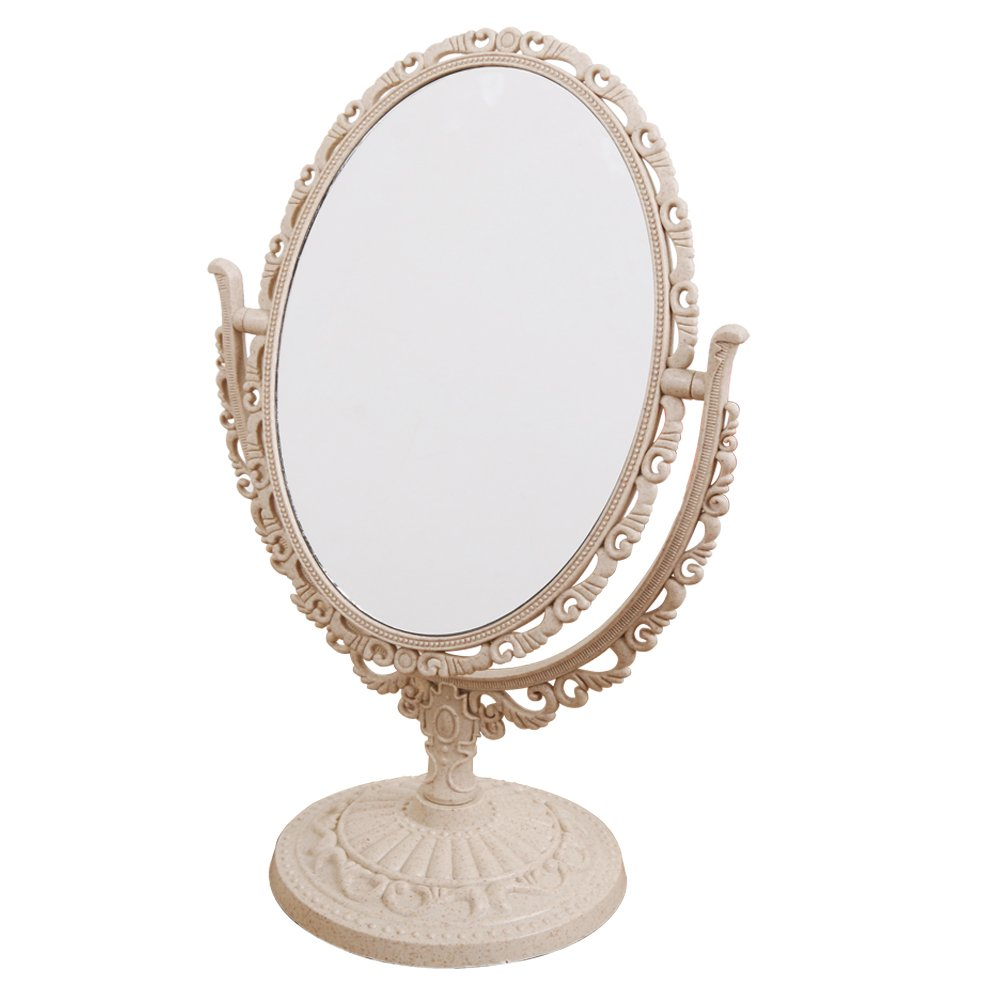 XPXKJ 6-Inch Tabletop Vanity Makeup Mirror with 3X Magnification, Two Sided ABS Decorative Framed European for Bathroom Bedroom Dressing Mirror (Table- Circular)