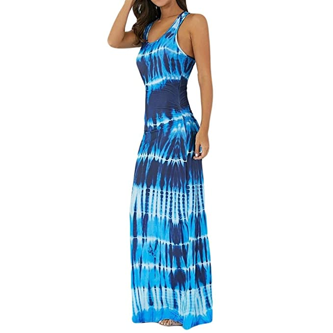 VEMOW Summer Dresses for Women Sexy Maxi Halter Neck Sleeveless Beach Dress  Long Slip Boho Prom Casual Irregular Loose Linen Dresses - Bohemian Tie-Dye  ... dcf2fd2f3ad4
