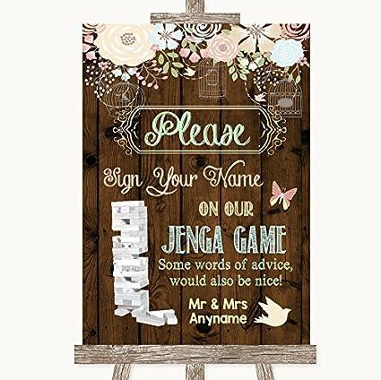 Cartel rústico floral de madera para boda colección rústico floral madera Jenga libro de invitados boda signo Framed Oak Medium: Amazon.es: Oficina y papelería