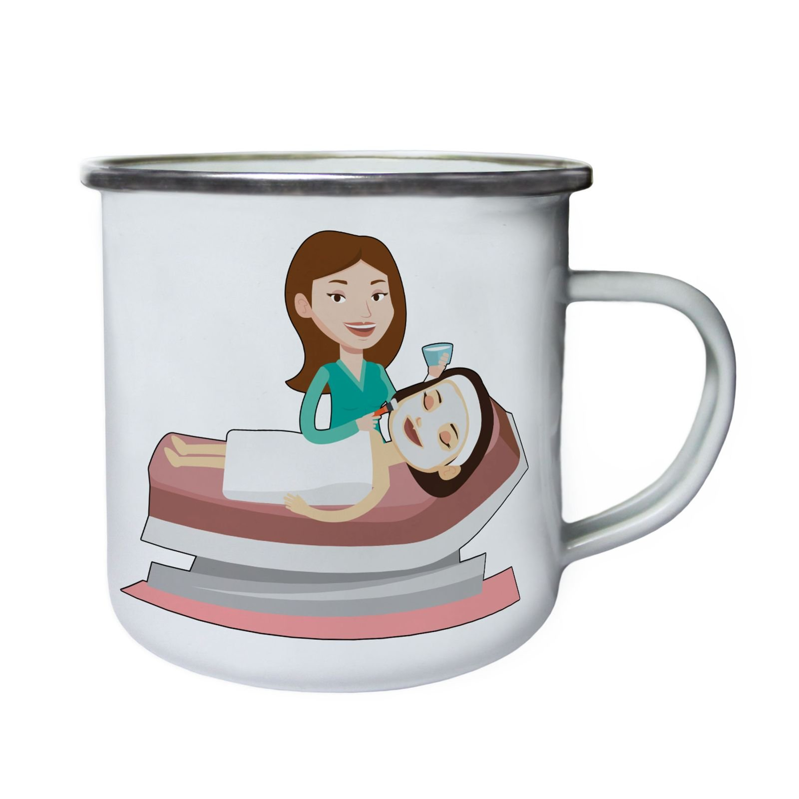 Spa Beauty Lady Retro,Tin, Enamel 10oz Mug q885e