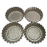 """Set of 20, MYStar 9.5 cm (3-3/4"""") Fluted Design Round Shape Non-stick Aluminum Tart Mold, Mini Pie Tin, Tartlet Pan"""