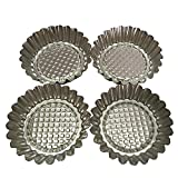 Set of 20, MYStar 3-3/4'' Fluted Design Round Shape Non-stick Aluminum Tart Mold, Mini Pie Tin, Tartlet Pan