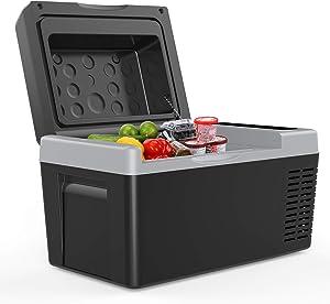 F40C4TMP Portable Freezer Car Refrigerator 24 Quart 12V Car Freezer Travel Fridge 18L (-7.6?~50?) with 12/24V DC and 110-240 AC, Compressor Refrigerator for Home, Truck, RV, Boat and Camping