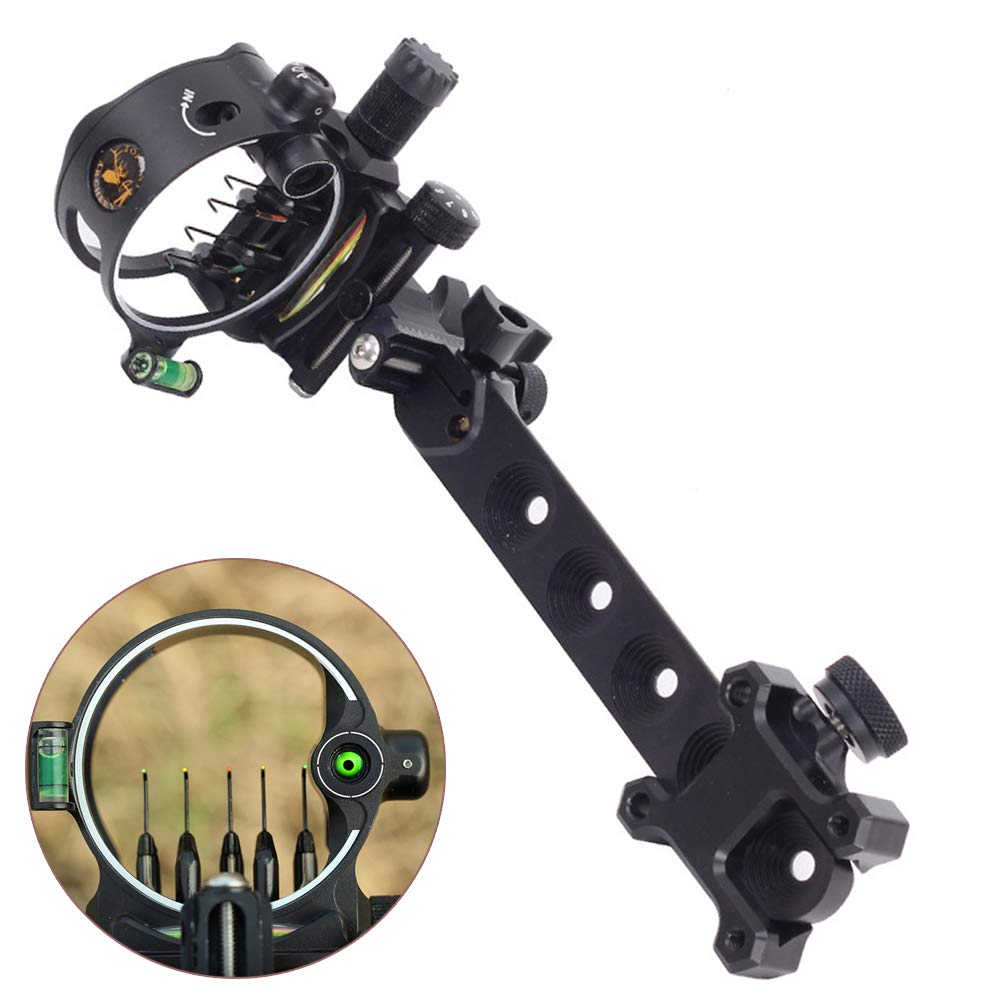 ZSHJG Archery Bow Sight 5 Pin 0.019 Optical Fiber Retinal Sight CNC Aluminum Horizontal Vertical Adjustment for Compound Bow Sight Accessory (Long Black) by ZSHJG