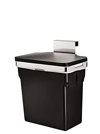 simplehuman Abfalleimer für Küchenschrank,10 L, Schwarz mit ...