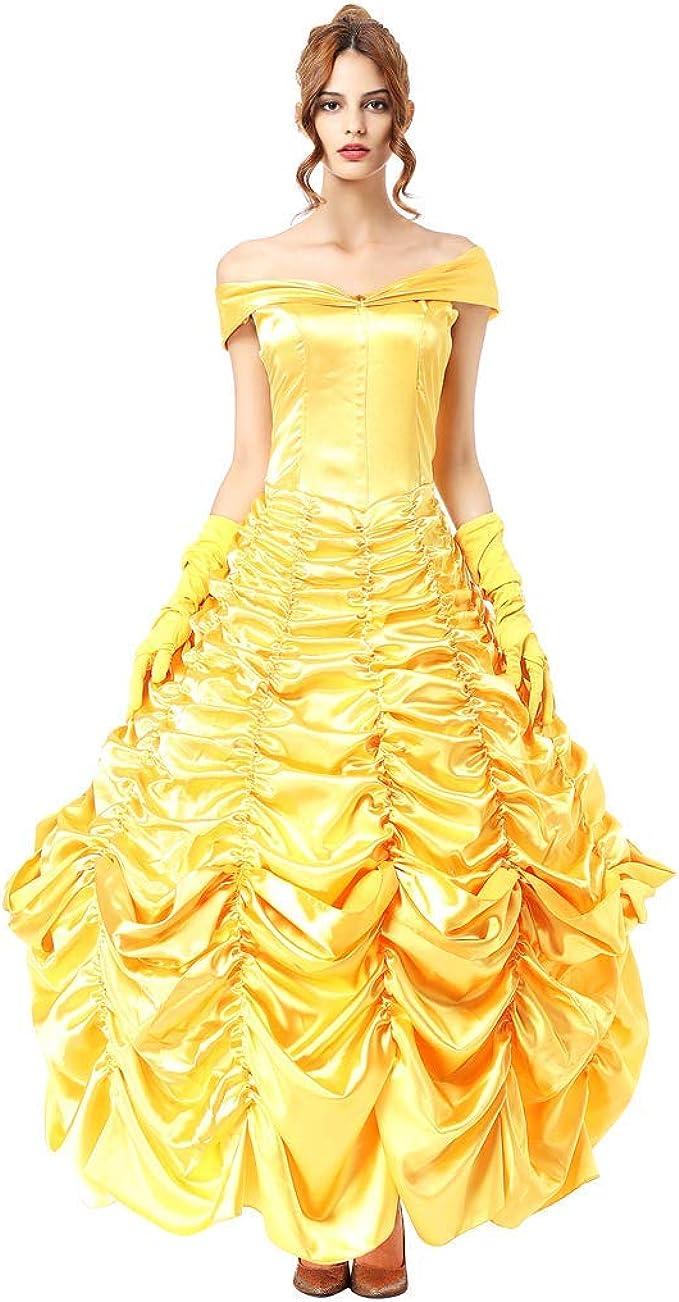 FYMNSI Damen Belle Kostüm Kleid Erwachsene Die Schöne und das