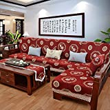 Sofa cover for living room Sofa towel pillow [modern] Chinese solid wood cushion Autumn sofa cover Throw furniture protector-red 70x210cm(28x83inch)