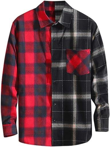 Camisas Formales Hombre Camisetas Hombre Casual Tartán Impreso Labor de Retazos Suelto Ropa Otoño Invierno Hombre: Amazon.es: Ropa y accesorios