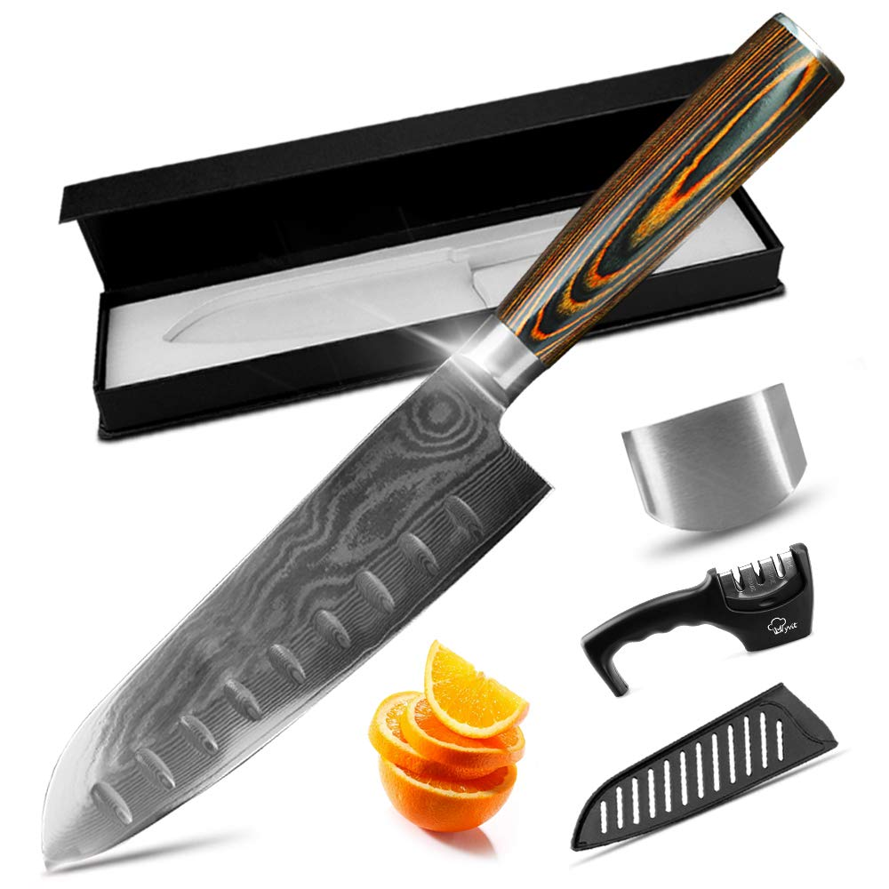 MYVIT Chef Knife Kitchen Knife 7 inch Chefs Damascus Santoku Knife Japanese Cooking Sushi Professional for Vegetable Meat Chopping [Knife Sharpener Finger Guard Knife Sheath] by MYVIT